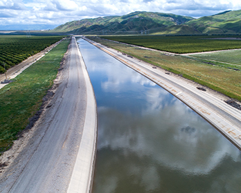 A view of the California Aqueduct, part of the California State Water Project.