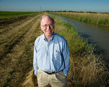 Delta Independent Science Board member Jay Lund stands near the Yolo Bypass wetlands.