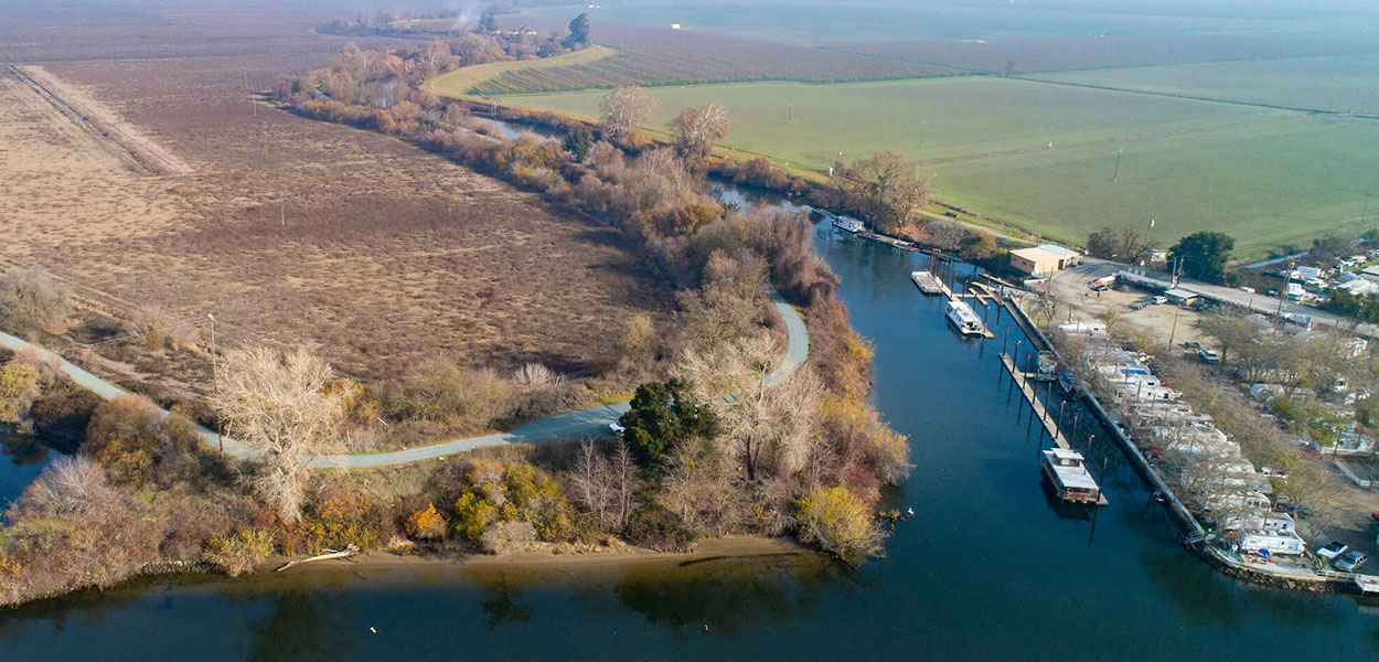 An aerial view of the southern tip of McCormack-Williamson Tract in the Sacramento-San Joaquin Delta.